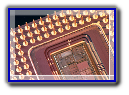 ASIC Integrated Circuit package showing die bondwires and pins